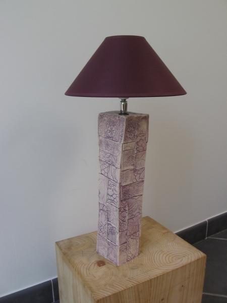 Lampe patchwork mauve de faïence