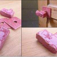 Poignée de porte rectangle rose
